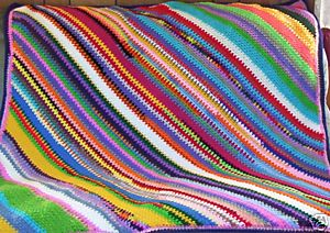 Diagonal stripe afghan